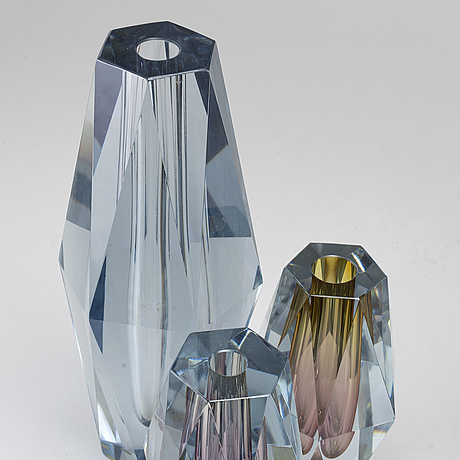 Asta strÖmberg, five 'diamant' glass vases from strömbergshyttan, 1960's.