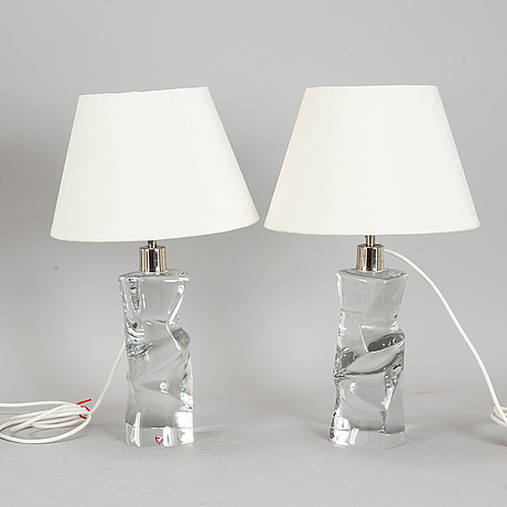 Olle alberius, a pair of glass table lights from orrefors.