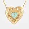 An heart shaped emerald and brilliant-cut diamond necklace.