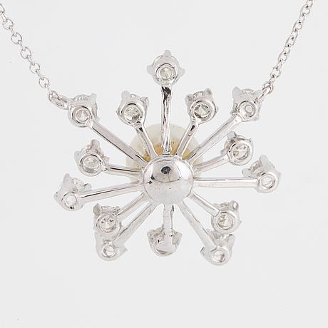 Cultured pearl and brilliant-cut diamond necklace.