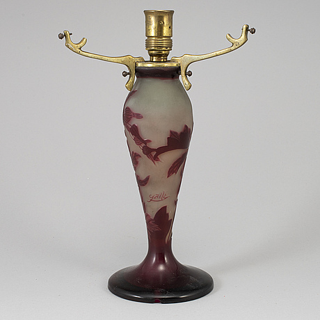 An emile gallé art nouveau cameo glass table lamp, nancy, france.