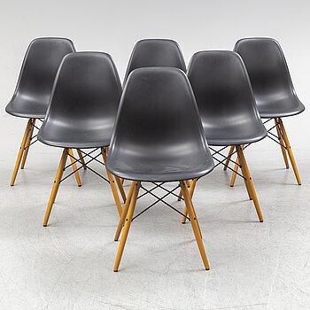 CHARLES & RAY EAMES, six 'Plastic chair', Vitra.