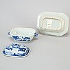 A blue and white export porcelain butter tureen with dish and a serving dish, qing dynasty, qianlong (1736-95).