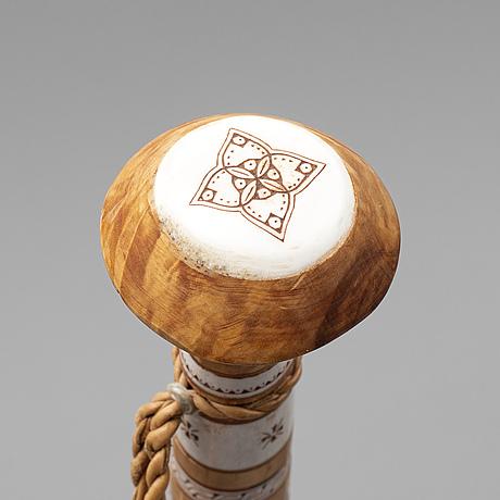 Tyko lampa, a sami birch and reindeer horn walking stick, vittangi, signed.