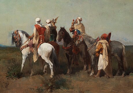 Émile regnault de maulmain, hunting with falcons.