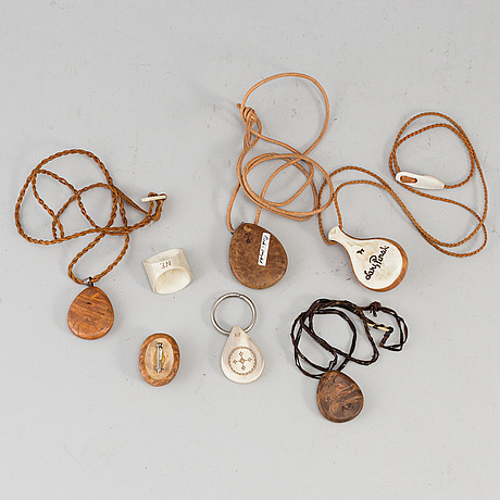 Seven pieces om sami jewellery, signed.