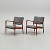A pair of easy chairs by karl erik ekselius, joc vetlanda, sweden.
