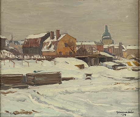 Ellis wallin, olja på duk, signerad och daterad 1934.