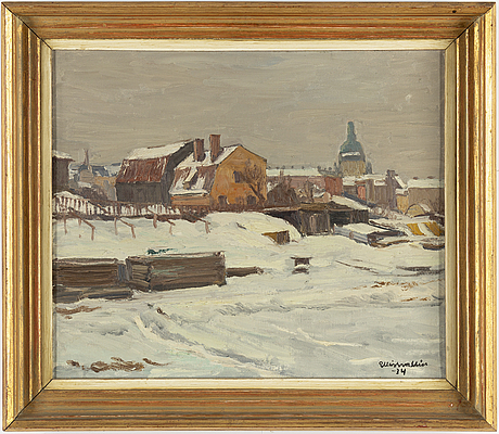 Ellis wallin, oil on canvas, signed and dated 1934.