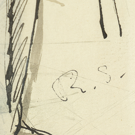 Ragnar sandberg, tusch och täckvitt, signerad.