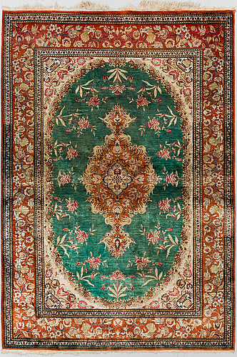 A rug, silk qum, probably, ca 145 x 100 cm.