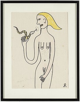 ROGER RISBERG, ink and chalk drawing, signed and dated 1990-91.