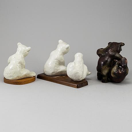 A set of three stoneware/ceramic figurines, including one by karl grössl.