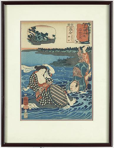 "Utagawa kuniyoshi (1797/98-1861), a colour woodblock print, japan, ""ochiai"", 19th century."