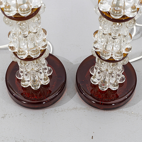 A pair of glass 1970's table lamps.