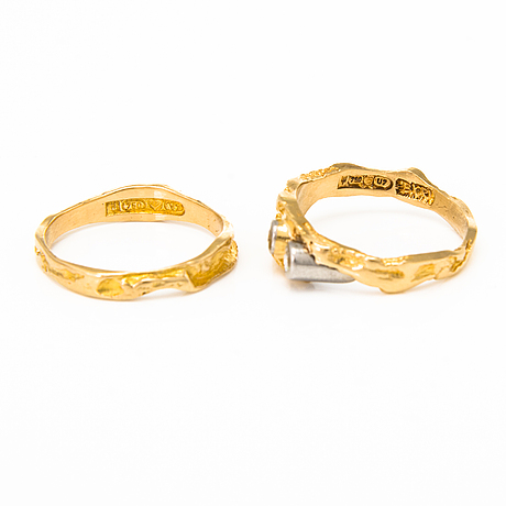 BjÖrn weckstrÖm, two 18k gold rings, one with two diamonds. lapponia 1973-1974.