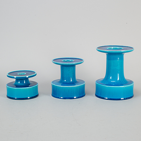 "Stig lindberg, three cande holders, ""lazur"", gustavsberg 1970-1973."