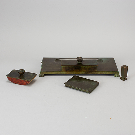 A bronze four-piece writing set from gab brons, 1930's.