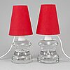 A pair of swedish modern glass table lights, mid 20th century.