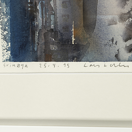 Lars lerin, watercolour, signerad and dated -95.