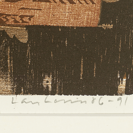 Lars lerin, wood cut, signed and dated 86-91. numbered 161/360.
