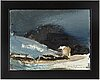 Lars lerin, oil on canvas/paper-panel, signed.