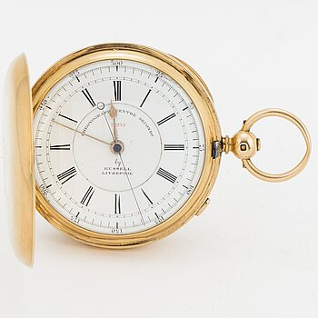 209. POCKET WATCH, Chronograph centre seconds by Russell Liverpool.