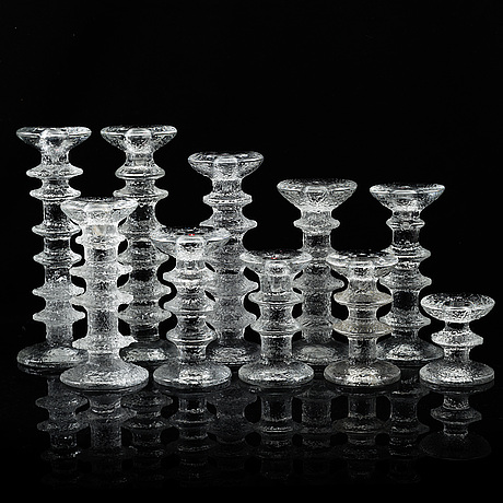 Timo sarpaneva, ten 'festivo' glass candlesticks from iittala, finland.
