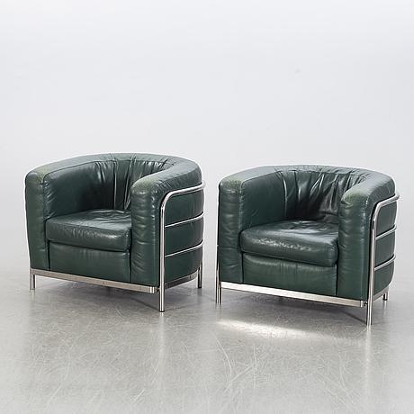 "Jonathan de pas, donato d urbino & paolo lomazotti, a pair of leather easy chairs ""onda"" zanotta."