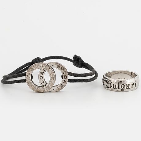 Bulgari, bracelet and ring, silver.
