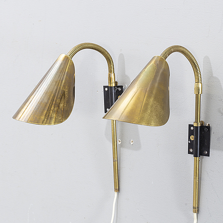 A pair of brass wall lamps, 1950-/1960's.
