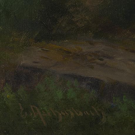 Oskar achenbach, oil on canvas, signed.