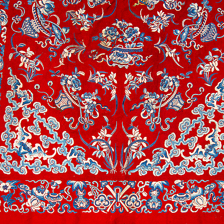 A large textile in cotton and silk. qing dynasty, late 19th century.