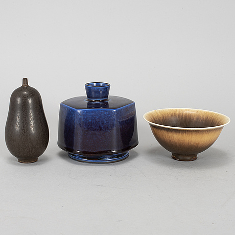 Berndt friberg, two stoneware vases and a bowl, gustavsberg.