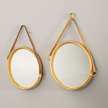 A pair of mirrors, rattan, second half of the 20th century.