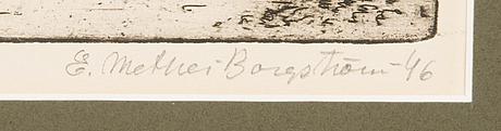 Ernst mether-borgstrÖm, etsaus, signeerattu ja päivätty -46. merkitty nro 3.