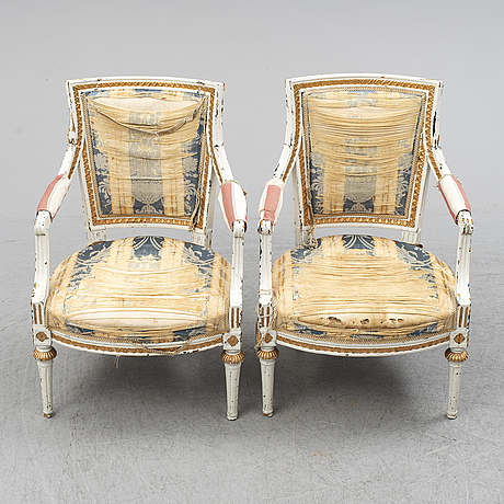 A pair of gustavian armchairs, late 18th century.