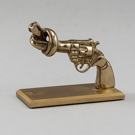 Carl fredrik reuterswÄrd, a brass 'non violence' sculpture from skultuna.