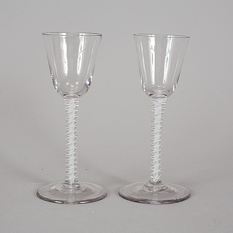 A pair of 18th century wine glasses.
