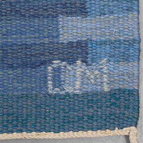 "Carl malmsten, a carpet, ""capella, blå"", two-sided, ca 210,5 x 136,5 cm, signad cm."