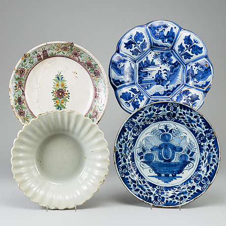 Four faiance dishes, 18th century.