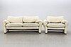 """Vico magistretti, soffa och fåtölj, """"maralunga"""" för cassina italien 1900-talets senare del."""