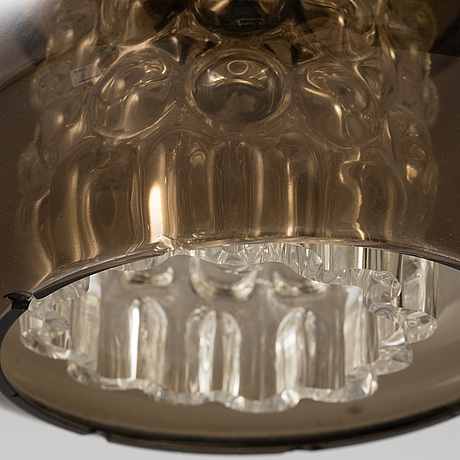 A pair of 'bubblan' celing glass lights, carl fagerlund, orrefors, 1970s.