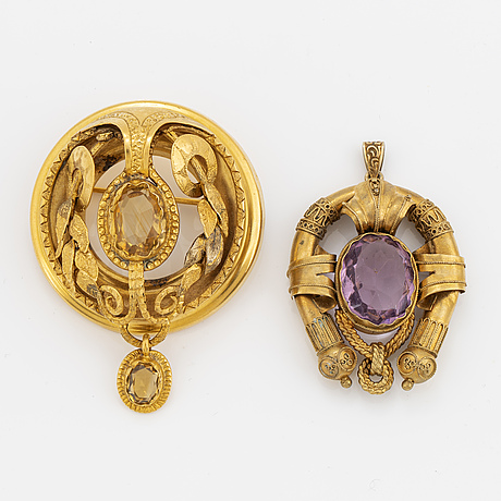 Brooch and pendant, citrine and paste.