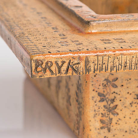 Rut bryk, a stoneware relief signed bryk.