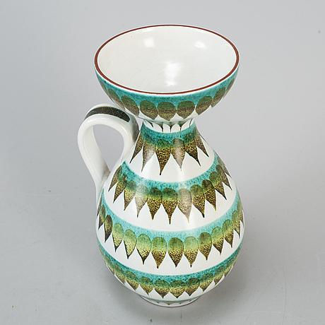Stig lindberg, a faience vase with handle, gustavsberg studio, sweden 1940-50's.