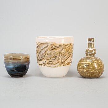 HEIKKI ORVOLA, a set of three glass vases, Nuutajärvi Notsjö, Finland.