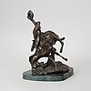 Charles marion russell, after. sculpture, bronze, signed.