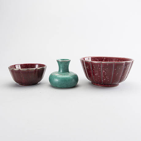 "Wilhelm kÅge, a set of two bowls and a vase ""argenta"" gustasvberg, later part of the 20th century."