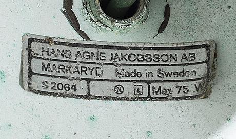 """Hans-agne jakobsson, vägglampor, 2 st, """"tratten"""" markaryd 1900-talets andra hälft."""